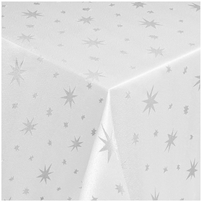tischdecken lurex sterne weihnachtstischdecke weiss silber. Black Bedroom Furniture Sets. Home Design Ideas