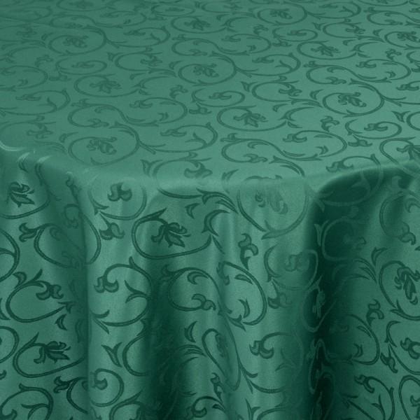 Tischdecken Damast Oval mit Saum Barock Dunkel-Grün