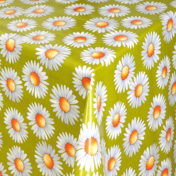 Tischdecke Abwaschbar Wachstuch Margariten Motiv Grün im Wunschmaß