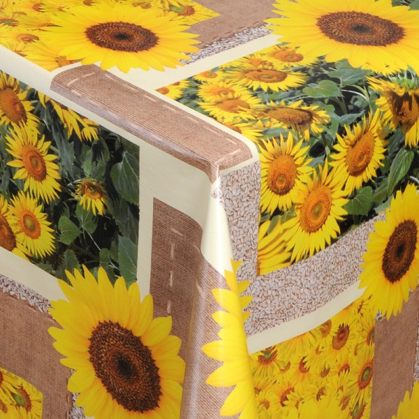 Tischdecke Abwaschbar Wachstuch Sonnenblume Motiv Beige im Wunschmaß
