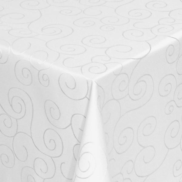 Tischdecken Damast Eckig mit Saum Ornamente Weiss