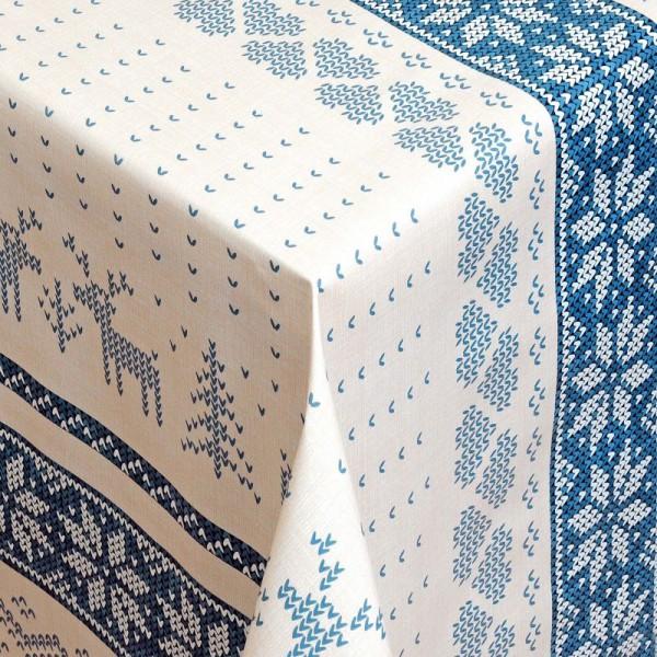 Tischdecke Abwaschbar Wachstuch Weihnachten Hirsch-Motiv Blau Wunschmaß