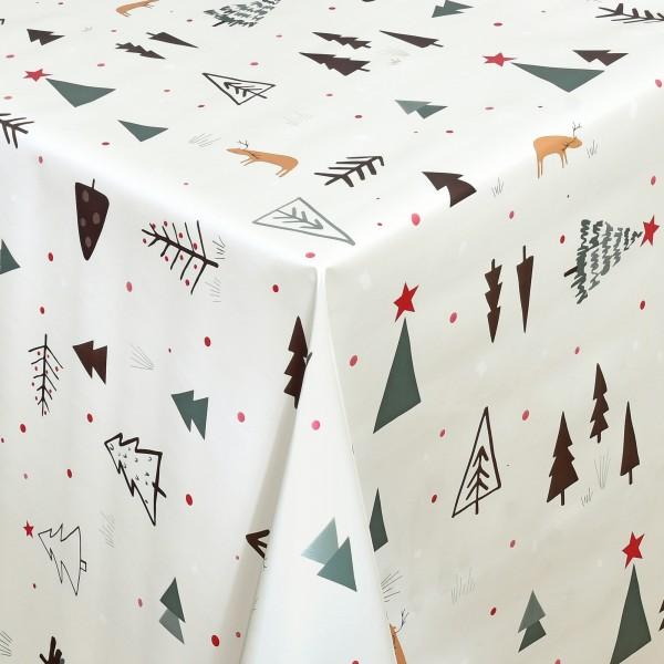 Tischdecke Wachstuch Weihnachten Lebensmittelecht Weihnachtsbäume Beige