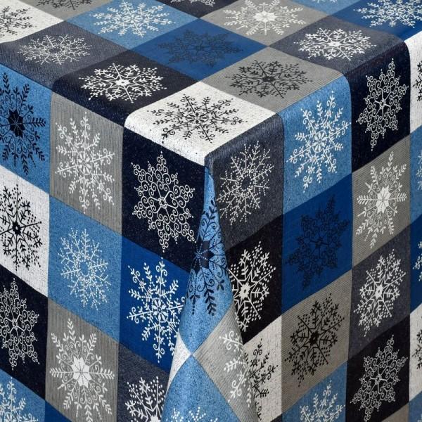 Tischdecke Abwaschbar Wachstuch Weihnachten Schneekristalle Blau-Grau