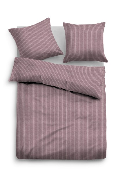 Bettwäsche Tom Tailor Melange-Flanell mit Nadelstreifen in Mauve