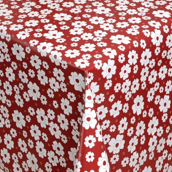 Tischdecke Abwaschbar Wachstuch Blumen Motiv Rot Weiss im Wunschmaß