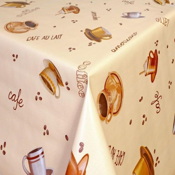 Tischdecke Abwaschbar Wachstuch Cafe Motiv Creme-Beige im Wunschmaß