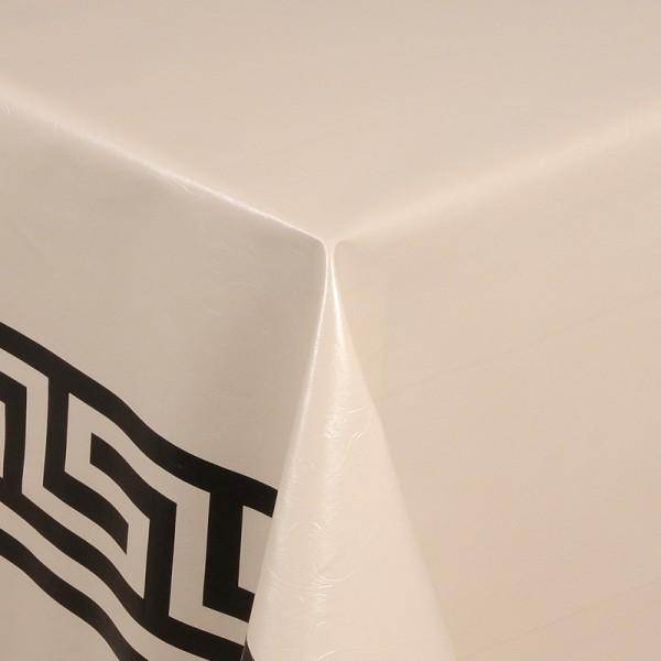 Tischdecke Abwaschbar Wachstuch Griechische Bordüre Creme Wunschmaß