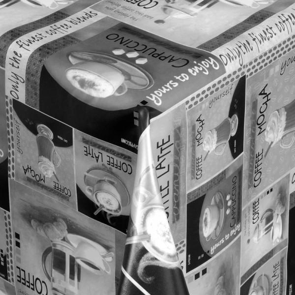 Tischdecke Abwaschbar Wachstuch Kaffee Motiv Grau im Wunschmaß