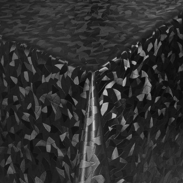 Tischdecke Abwaschbar Wachstuch Relief Dreiecke Schwarz im Wunschmaß