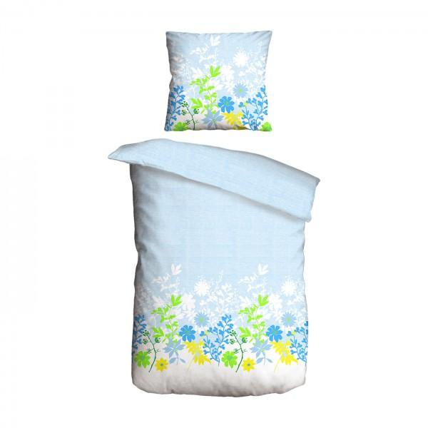 Bettwäsche 2tlg. 135x200 Renforce Blumen Blau