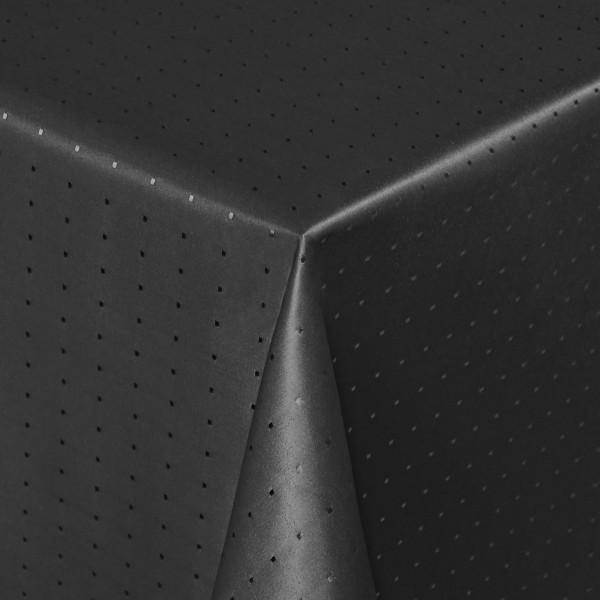 Tischdecken Damast Eckig mit Saum Punkte Schwarz