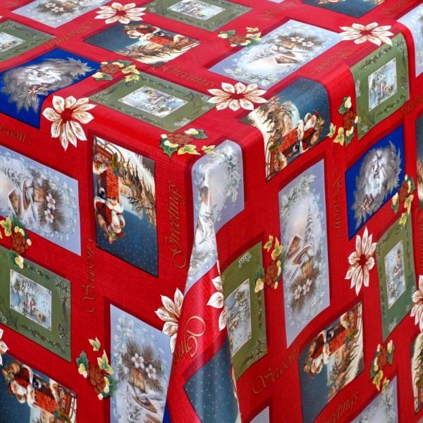 Tischdecke Abwaschbar Wachstuch Weihnachten Weihnachtsmotive Rot