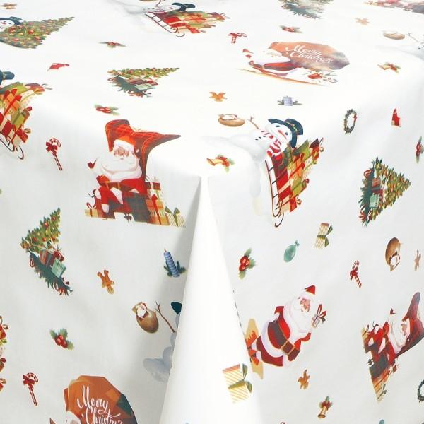 Tischdecke Abwaschbar Wachstuch Weihnachten Schneemann Motiv Weiss