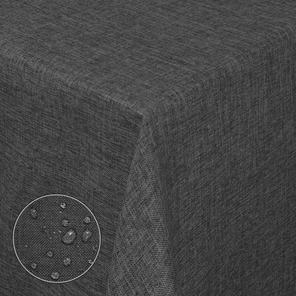 Tischdecken Damast Eckig Leinen Meliert wasserabweisend Anthrazit