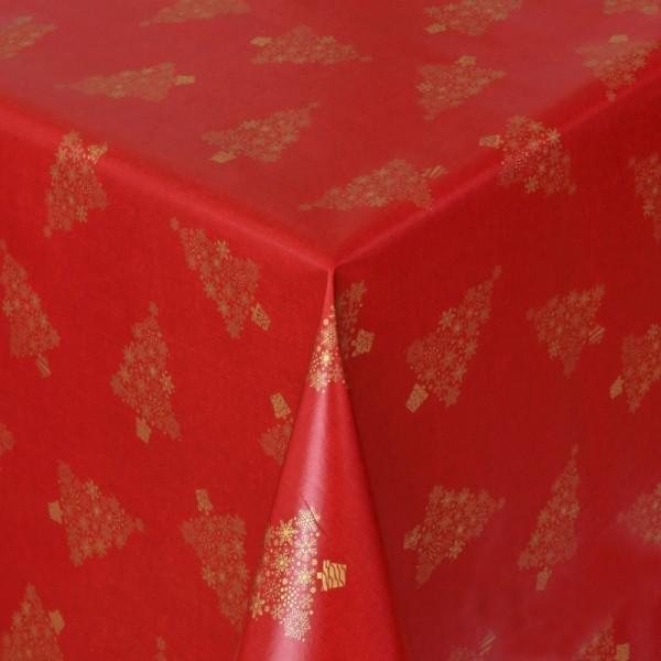 Tischdecke Wachstuch Weihnachten Lebensmittelecht mit Tannen Rot Gold