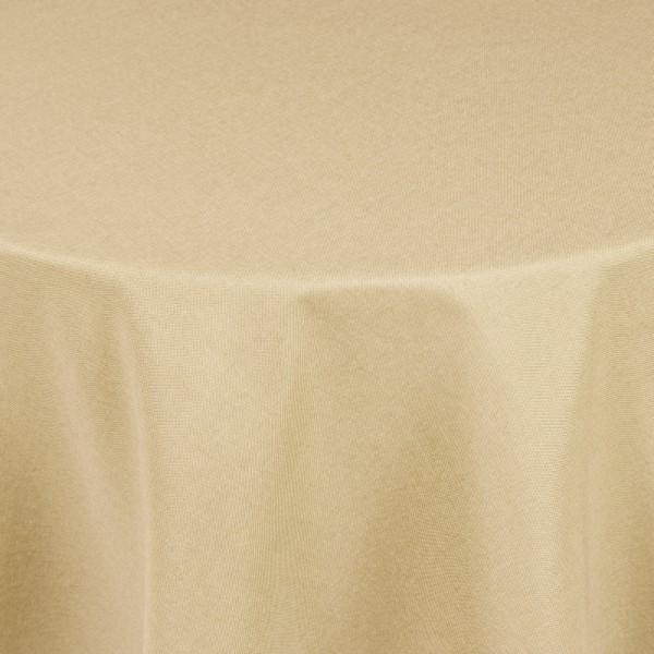 Tischdecken Damast Rund mit Saum Leinen-Optik Creme-Champagner