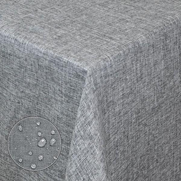 Tischdecken Damast Eckig Leinen Meliert wasserabweisend Grau