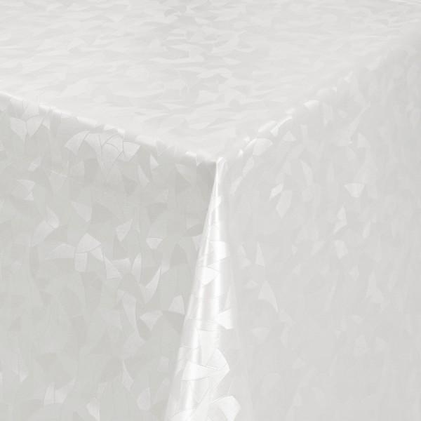 Tischdecke Abwaschbar Wachstuch Relief Dreiecke Weiss im Wunschmaß