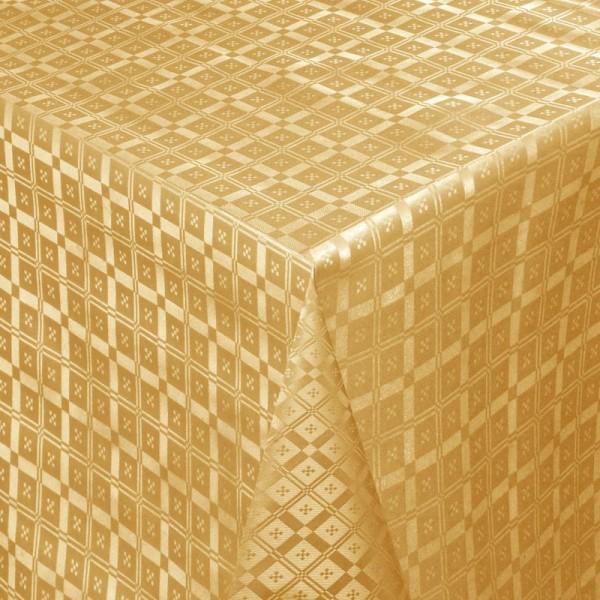 Tischdecke Abwaschbar Wachstuch Relief Quadrato Gold im Wunschmaß