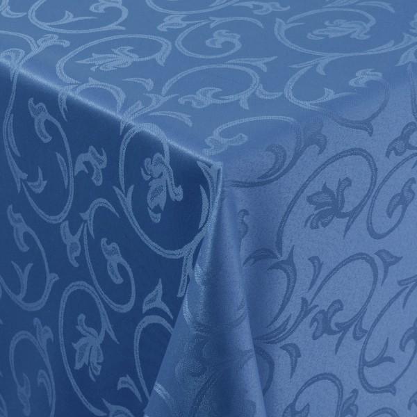 Tischdecken Damast Eckig mit Saum Barock Dunkel-Blau