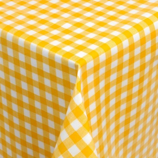 Tischdecke Abwaschbar Wachstuch Karos Gelb Weiss im Wunschmaß
