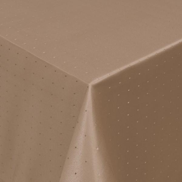 Tischdecken Damast Eckig mit Saum Punkte Hell-Braun