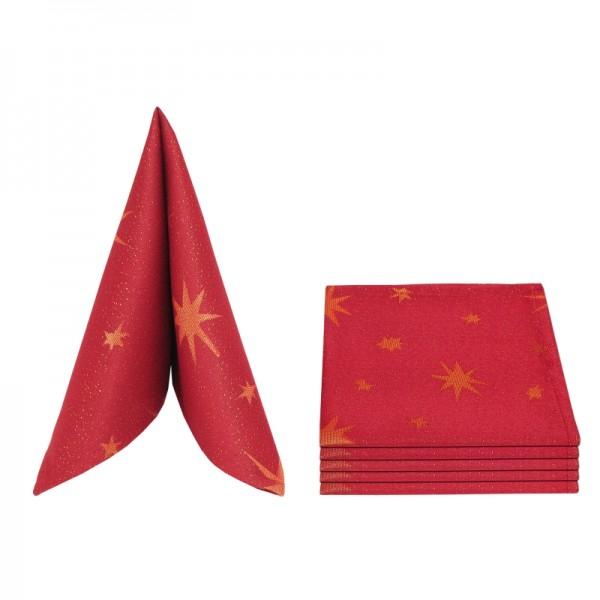 Servietten Damast Lurex 50x50 Rot-Gold (6er Pack)