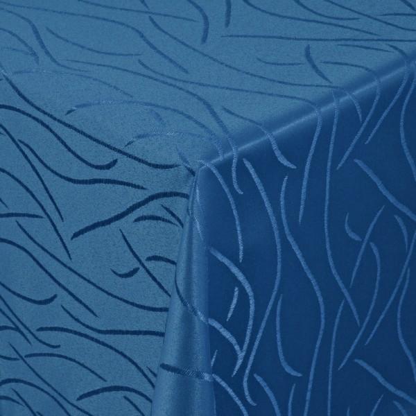 Tischdecken Damast Eckig mit Saum Streifen Dunkel-Blau