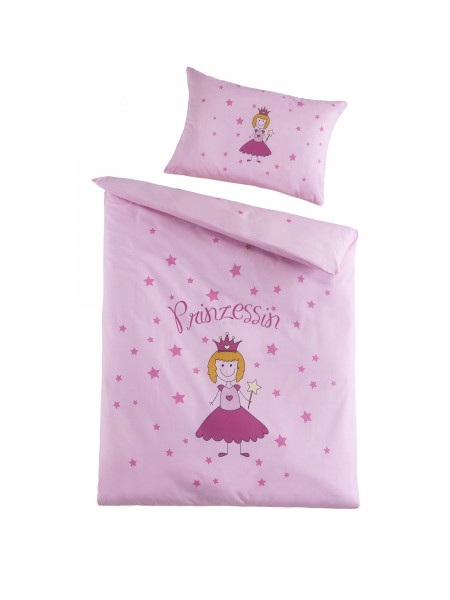 Kinderbettwäsche Atmungsaktiv 2tlg. Prinzessin Motiv in Rosa