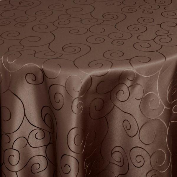 Tischdecken Damast Rund mit Saum Ornamente Dunkel-Braun