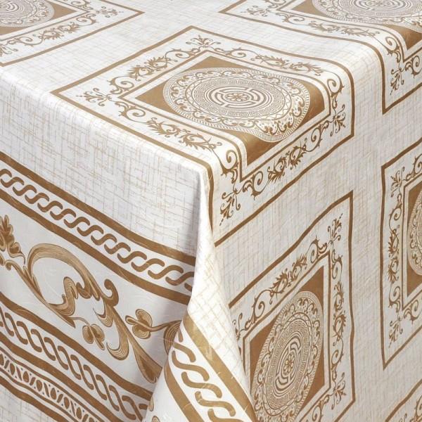 Tischdecke Abwaschbar Wachstuch Relief Oriental Beige im Wunschmaß