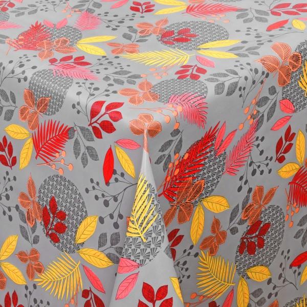 Tischdecke Wachstuch Motiv Lebensmittelecht Blätter und Beeren Motiv in Grau