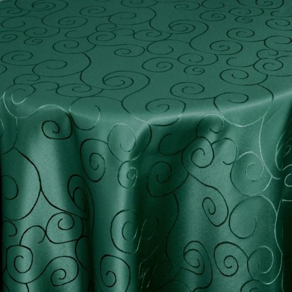 Tischdecken Damast Oval mit Saum Ornamente Dunkel-Grün