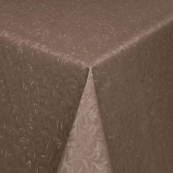 Tischdecke Abwaschbar Wachstuch Relief Ornamente Braun im Wunschmaß