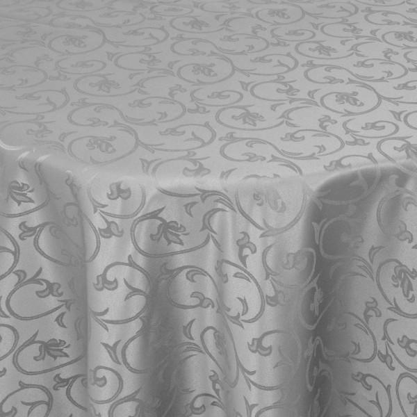 Tischdecken Damast Rund mit Saum Barock Grau