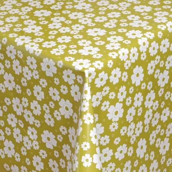 Tischdecke Abwaschbar Wachstuch Blumen Motiv Grün Weiss im Wunschmaß