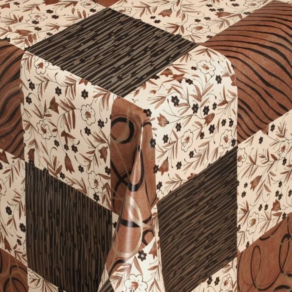 Tischdecke Abwaschbar Wachstuch Quadrate Braun Schwarz im Wunschmaß