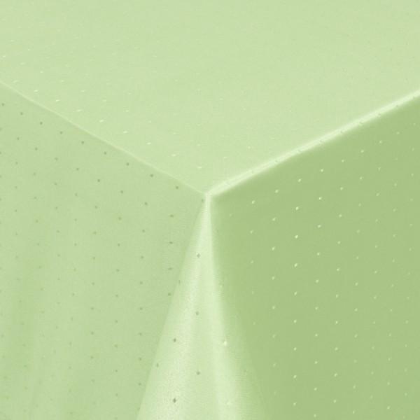 Tischdecken Damast Eckig mit Saum Punkte Lind-Grün