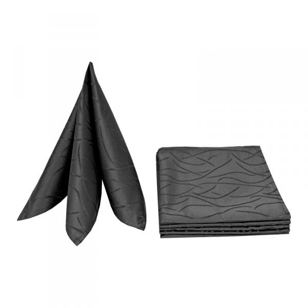 Servietten Damast Streifen 50x50 Schwarz (6er Pack)