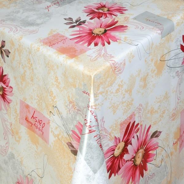 Tischdecke Abwaschbar Wachstuch Blumen Motiv Rosa Weiss im Wunschmaß