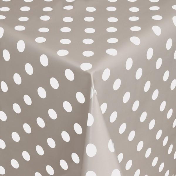 Tischdecke Abwaschbar Wachstuch Punkte Grau Weiss im Wunschmaß