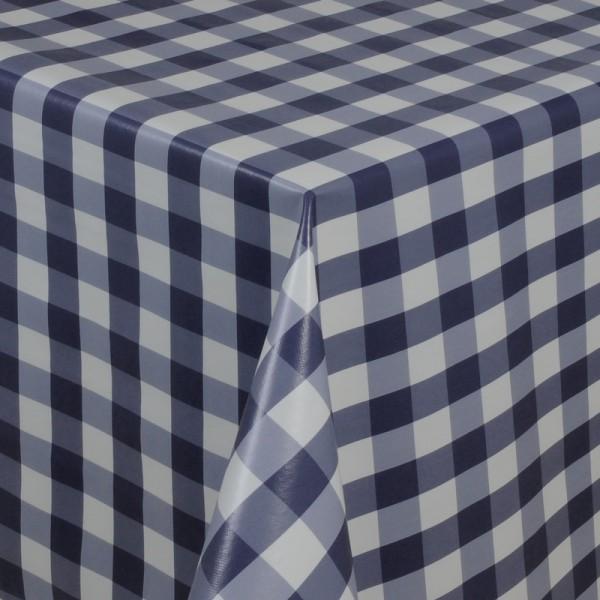 Tischdecke Abwaschbar Wachstuch Quadrate Motiv in Blau Weiss