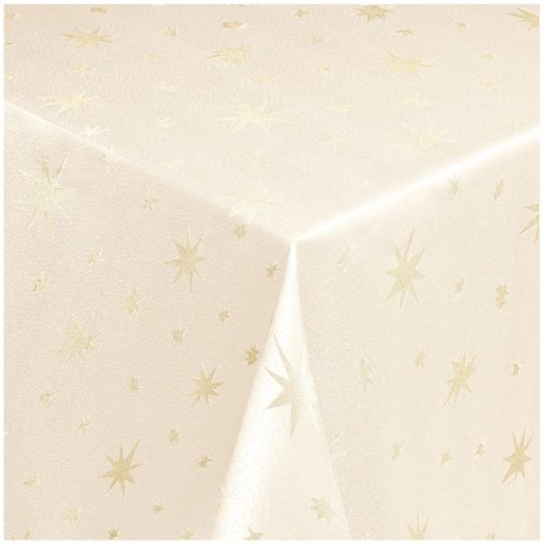 Tischdecken Lurex Sterne Weihnachtstischdecke Creme-Gold