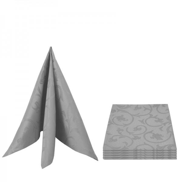 Servietten Damast Barock 50x50 Grau (6er Pack)