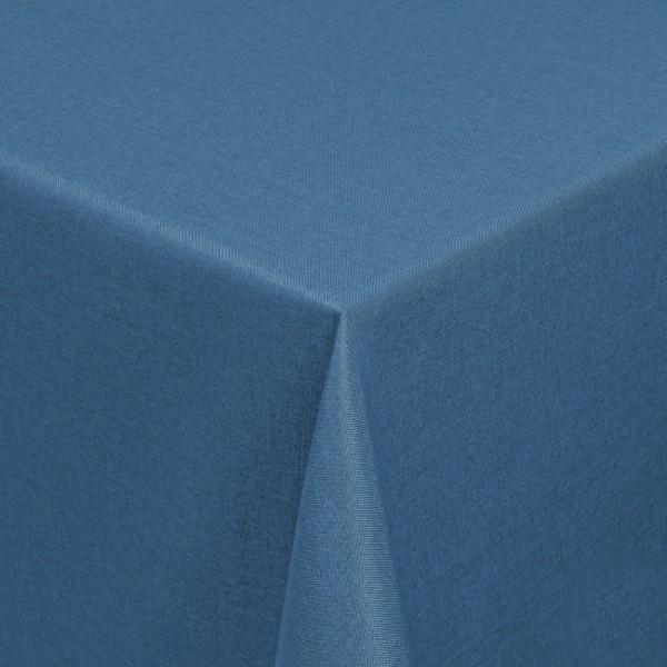 Tischdecken Damast Eckig mit Saum Leinen-Optik Dunkel-Blau