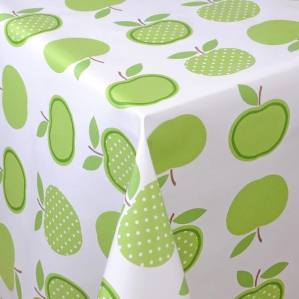 Tischdecke Abwaschbar Wachstuch Äpfel Motiv Grün Weiss im Wunschmaß