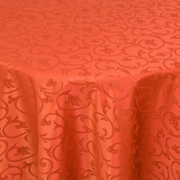 Tischdecken Damast Rund mit Saum Barock Orange