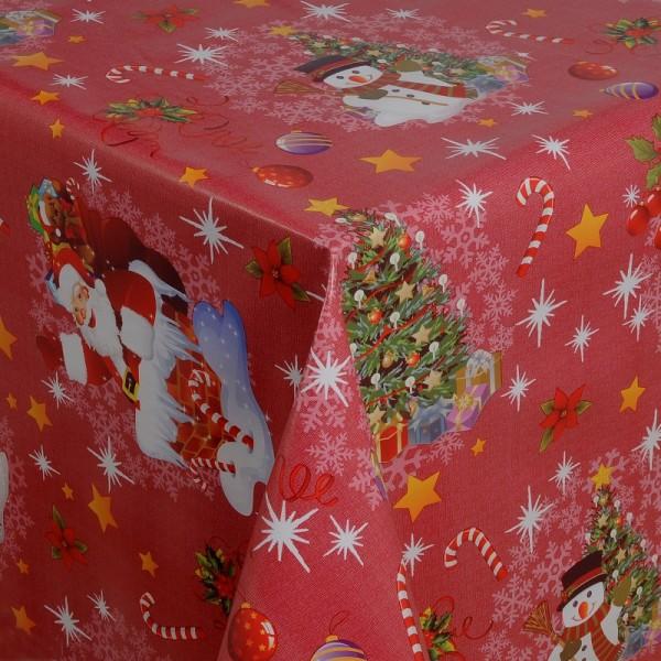 Tischdecke Abwaschbar Wachstuch Weihnacht Zuckerstange Rot Wunschmaß
