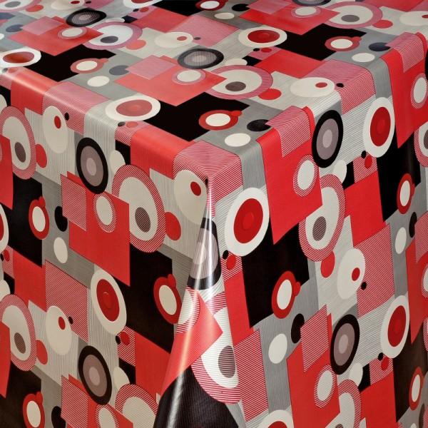 Tischdecke Abwaschbar Wachstuch Retro Motiv Rot Grau im Wunschmaß